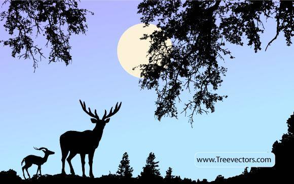 free vector Nature Scene Vector with Deer