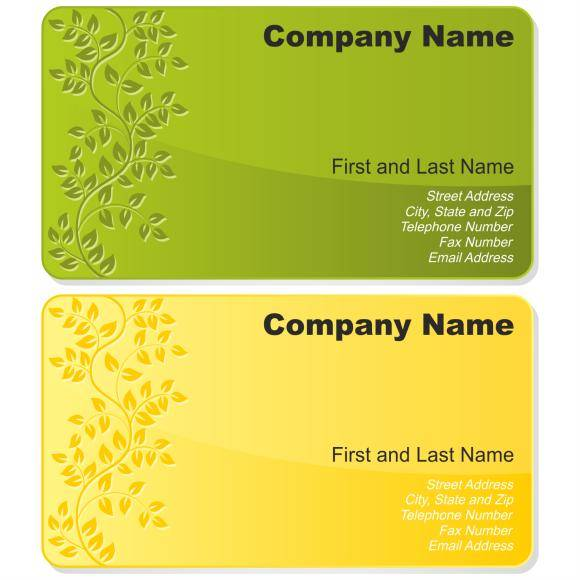 free vector Floral business card set