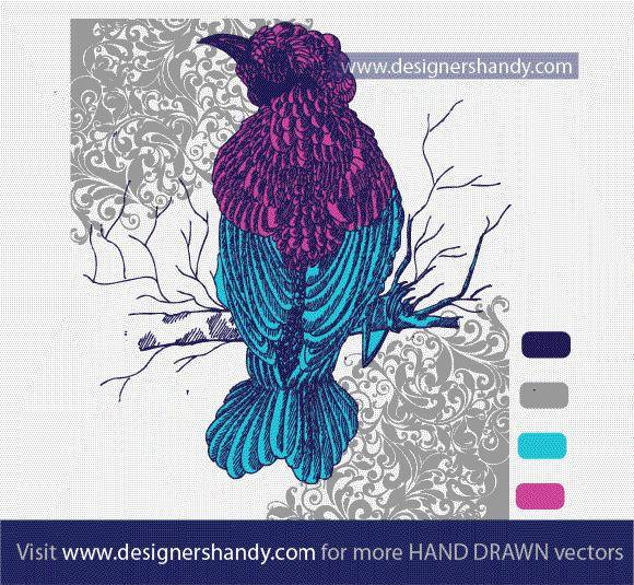 free vector Hand Drawn Decorative Bird