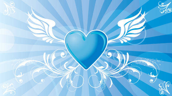 free vector Vector Winged Heart Background