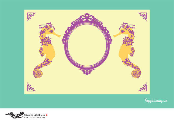 free vector Hippocampus with Ornamental Frame