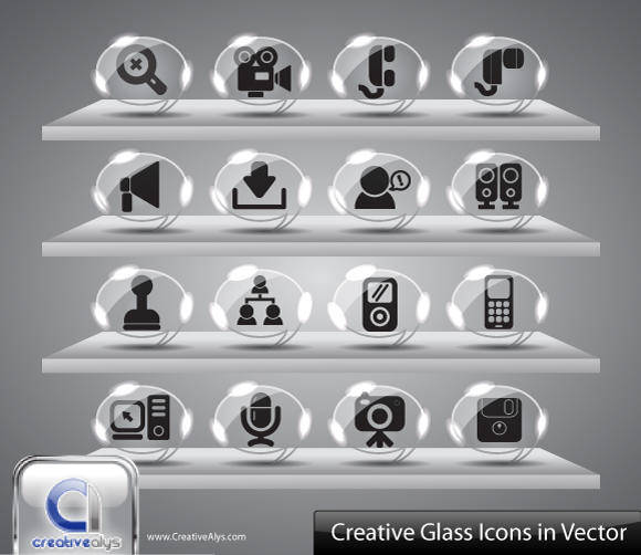 free vector Creative Glass Icons