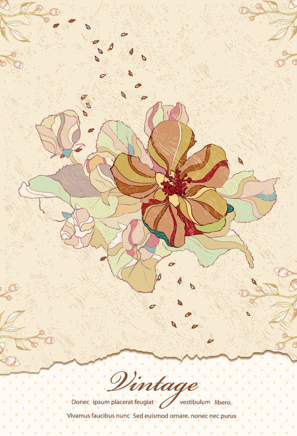 free vector Vintage Floral Background