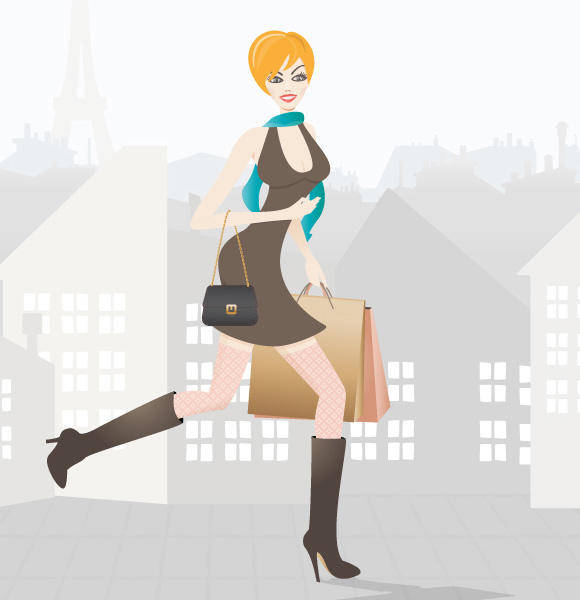 free vector Shopping in Paris