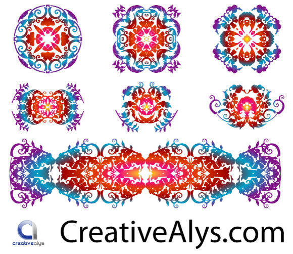 free vector Floristic Design Patterns