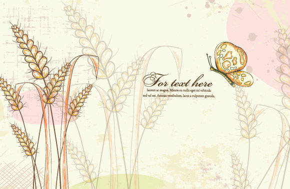 free vector Colorful Floral Vector Illustration with Butterfly