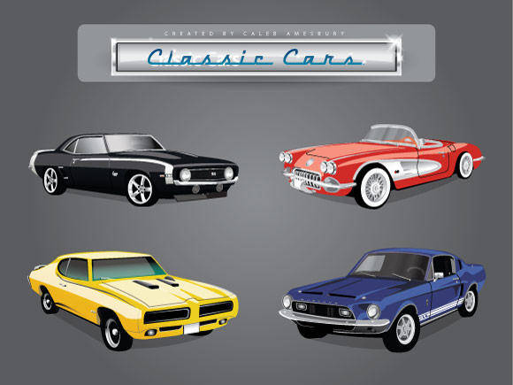 free vector 4 Vector Classic Cars