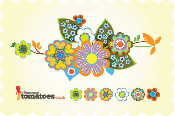 free vector Retro Flowers Vector