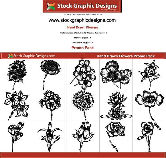 Hand Drawn Flowers Free Pack