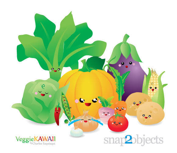 free vector Vector Kawaii Vegetables