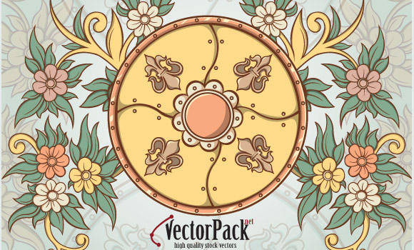 free vector Shield and Floral Vector Element