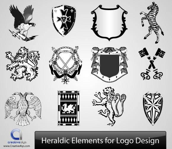 free vector Vector Heraldic Elements for Logo Design