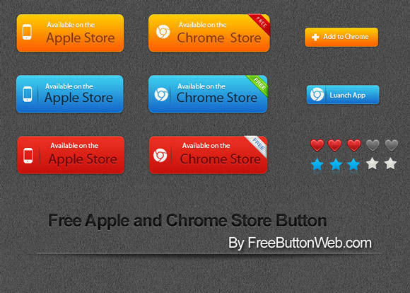 free vector Free Apple and Chrome Store Vector Button