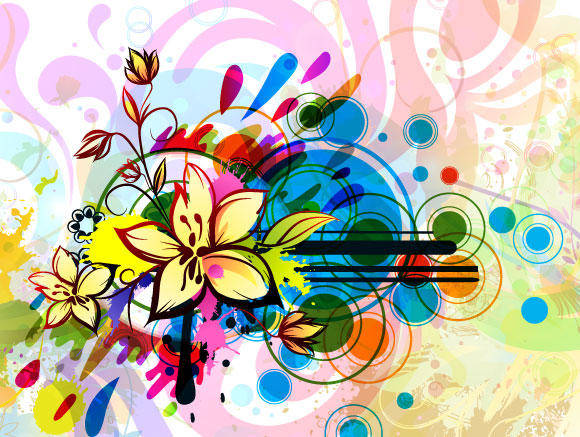 free vector Colorful Floral Vector Background