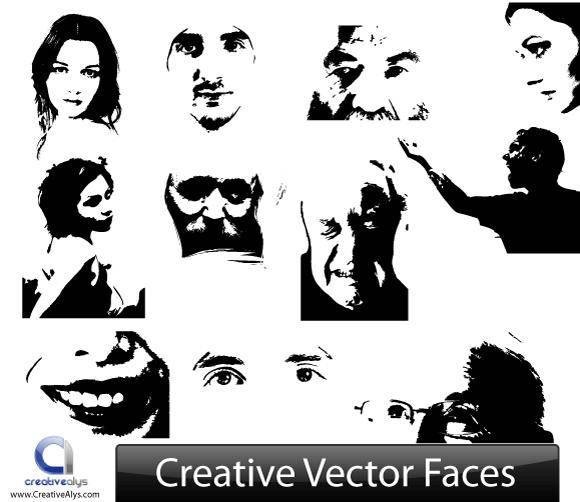 free vector Creative Vector Face Illustrations