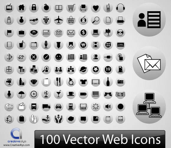 free vector 100 Vector Web Icons