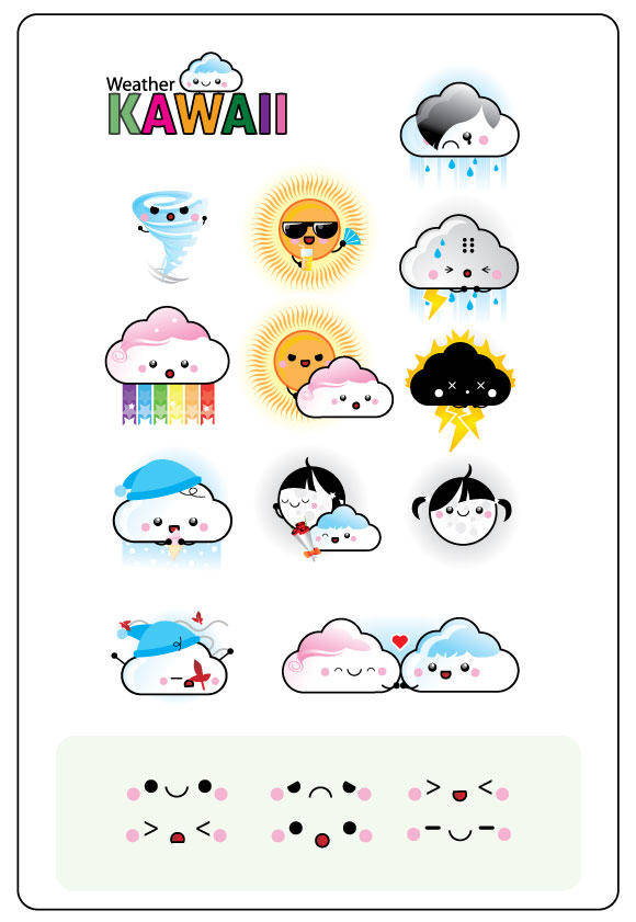 free vector Free 12 Vector Weather Kawaii