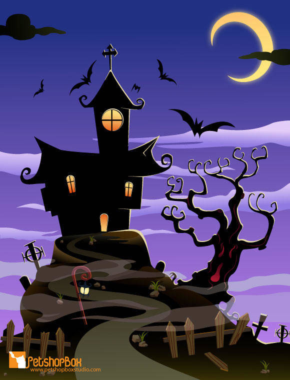 free vector Free Spooky House Vector Art