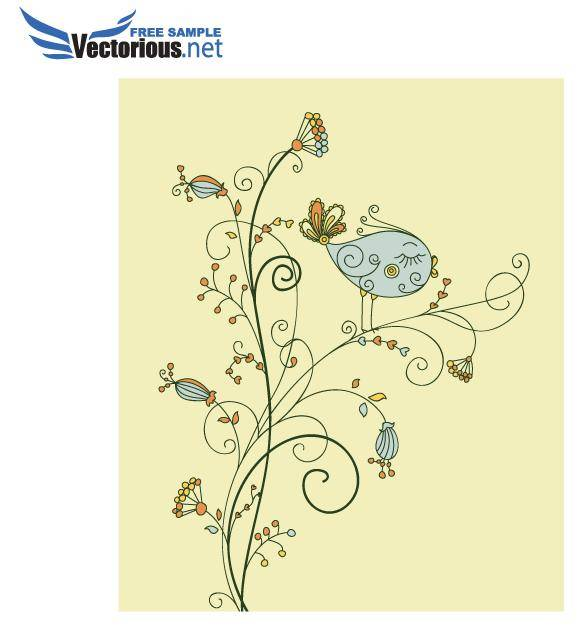 free vector Vector Leaf Bird on Floral