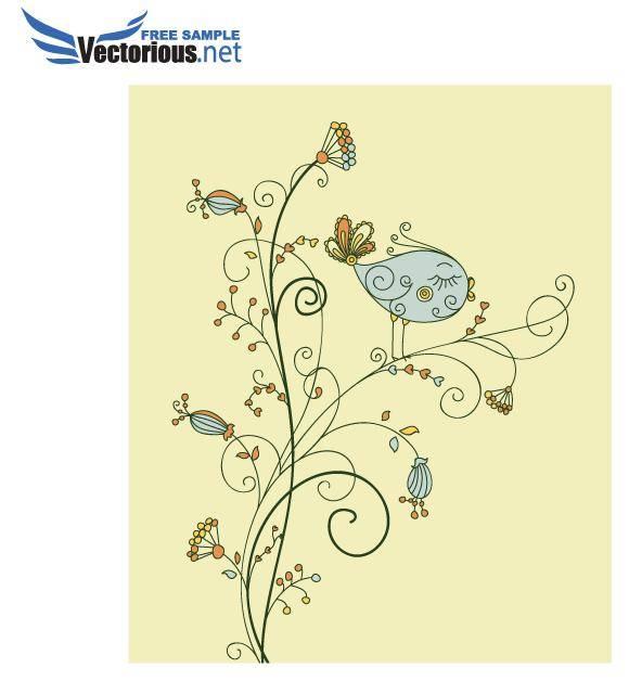 free vector Vector Leaf Bird on Floral