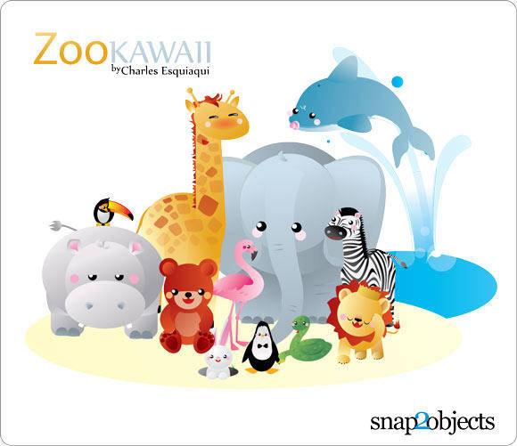 free vector Kawaii zoo