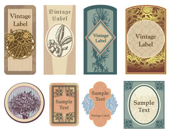 free vector Vintage Floral Vector Labels