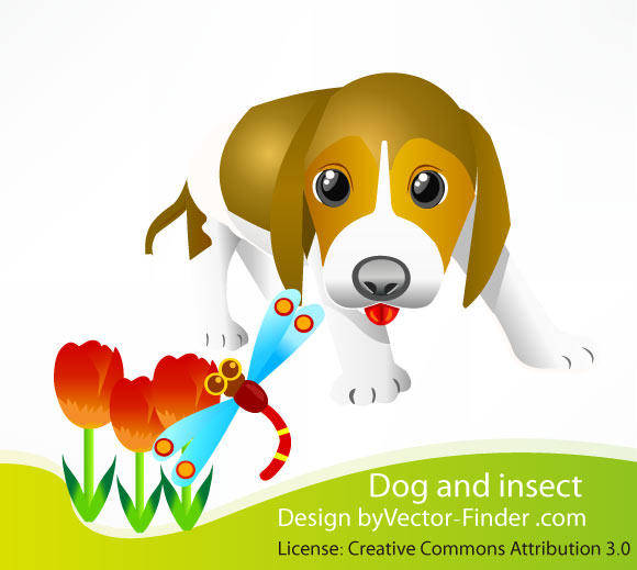 free vector Free Vector Dog and Insect