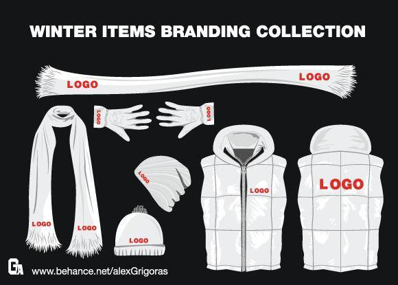 free vector Winter Items Branding Collection