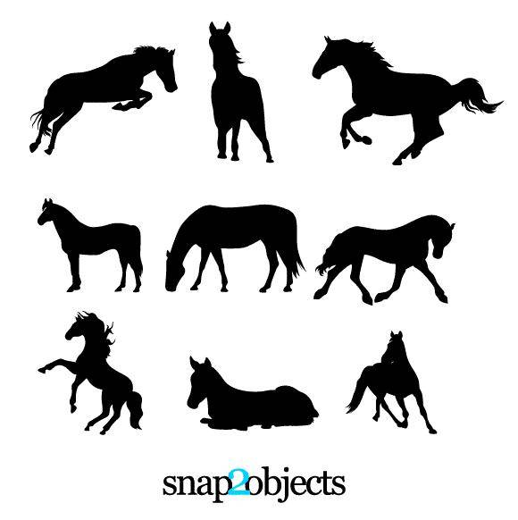 free vector 9 Horses Vector Silhouettes