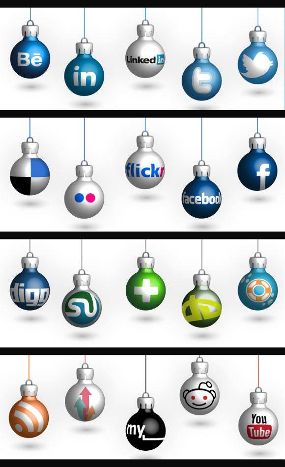 free vector Free Christmas Social Icons