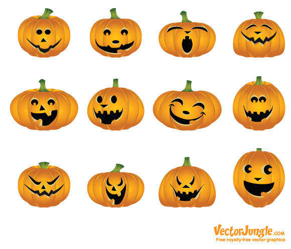 free vector Halloween Vector Pumpkins