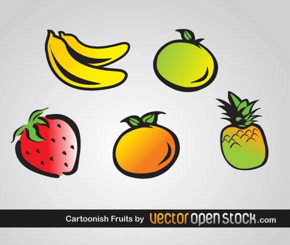 free vector Cartoonish Fruits Vector