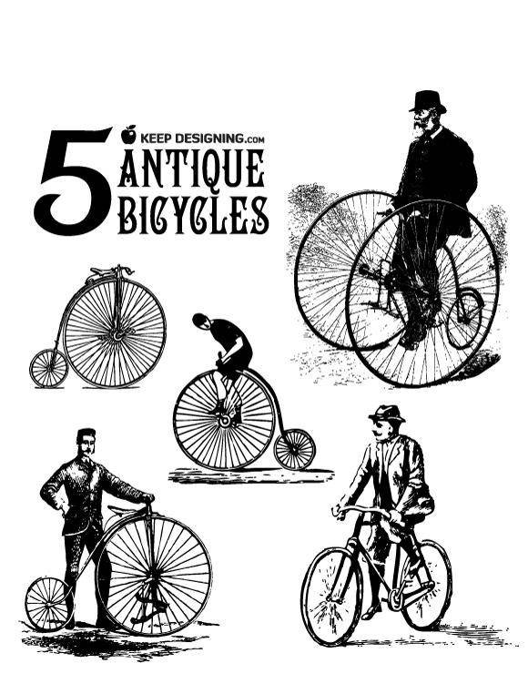 Antique Bicycle Vector Art