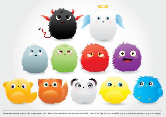 free vector Furry Creatures