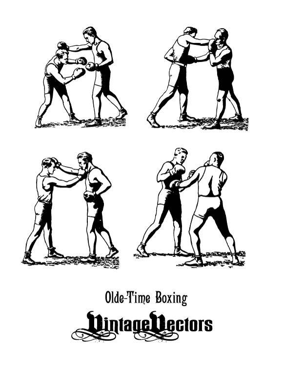 free vector Olde-Time Boxers in Classic Boxing Stances, Punching