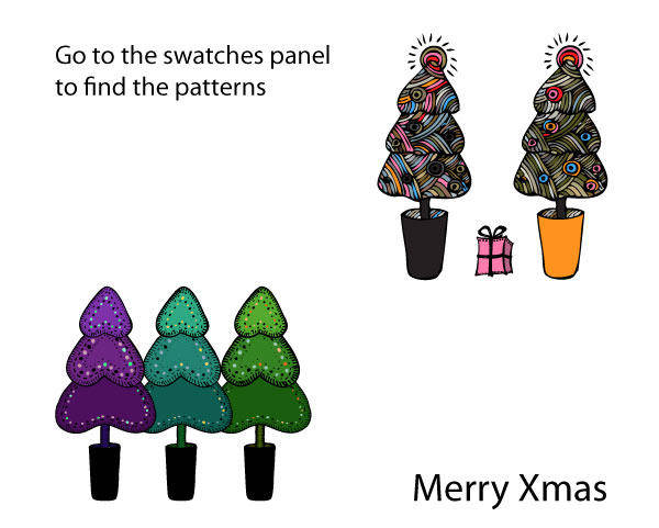 Doodled Christmas Ai Patterns