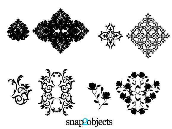 Four Vector Floral Ornaments