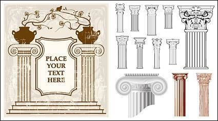European-style classical columns pattern vector material