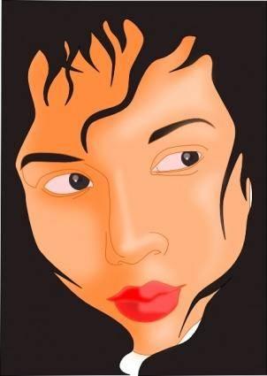 Girl Face In Black Frame clip art