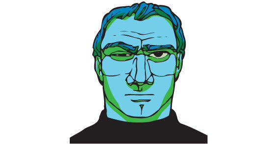 Strange blue skin face free vector