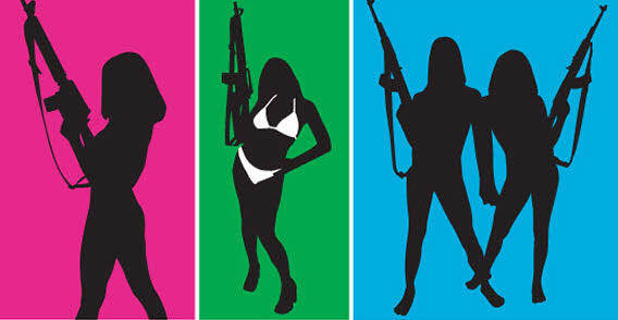 Girls with gun free vector