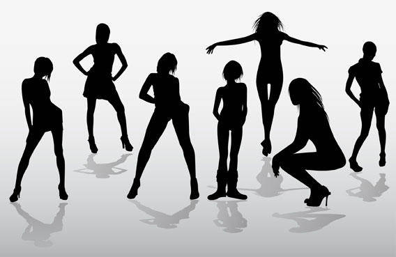 free vector Girls silhouettes free vector