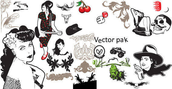 free vector Girls skulls twirls and stuff  free vector