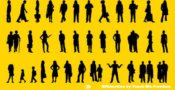 People silhouettes free vector on the yellow background