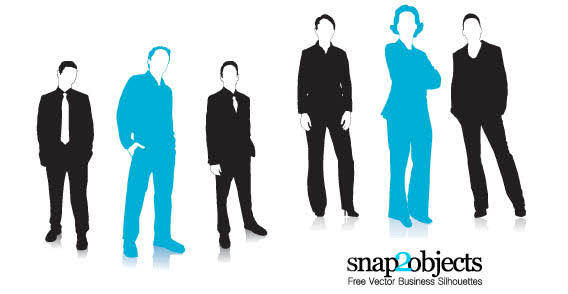 Business women and men silhouettes