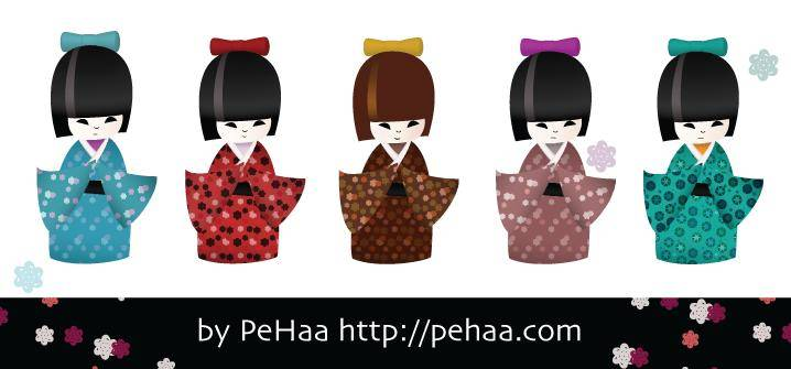 Five traditional japanese kokeshi dolls
