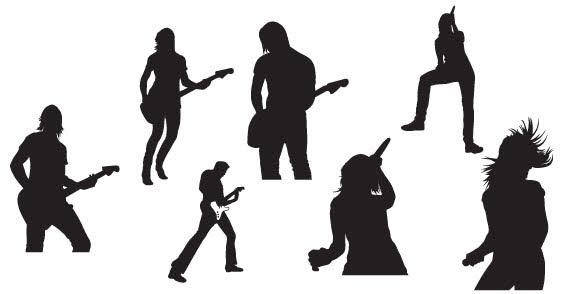 Live music silhouettes free vector