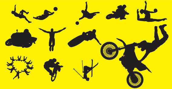 Sports people silhouette free vector