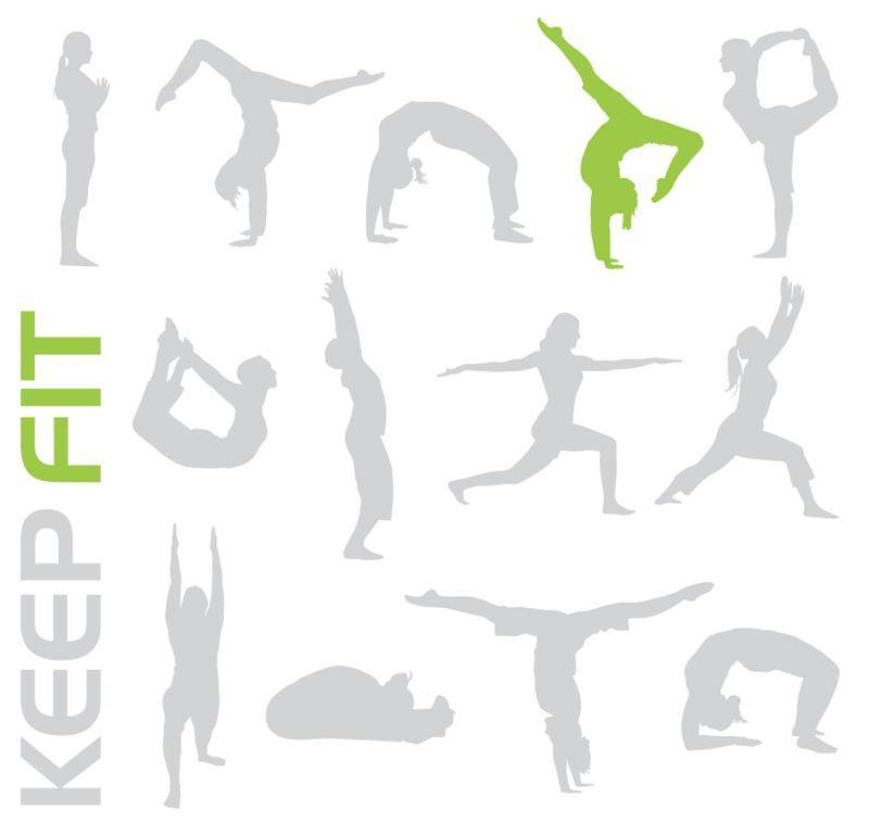 Keep fit sporty people free vector