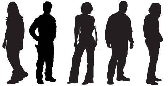 Black People silhouettes free vector